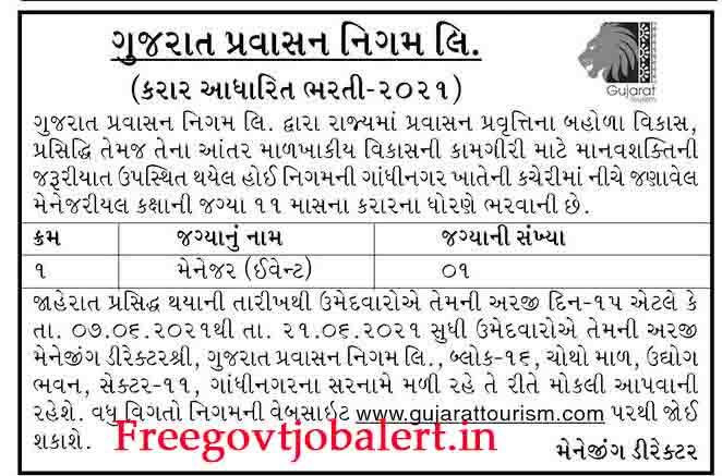Gujarat Tourism Recruitment 2021 For Event Manager Post at Gandhinagar