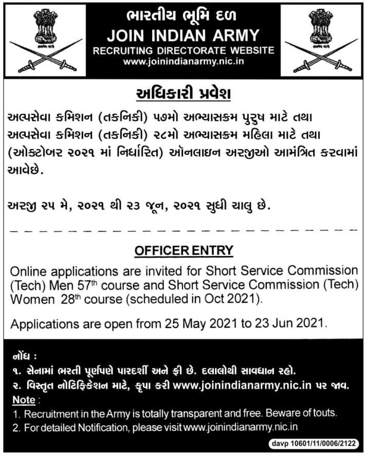Indian Army SSC Recruitment 2021 - 191 Men & Women Posts