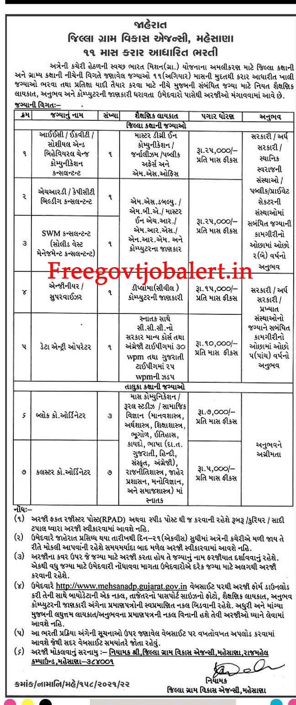 DRDA Mehsana Recruitment 2021 - 15 Various Vacancy