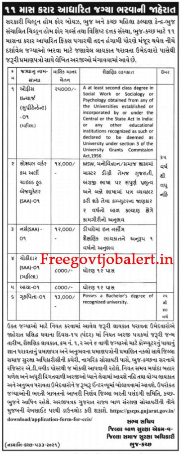 GSCPS Recruitment 2021 (Kutch - Bhuj) - Chowkidar - Aaya & Other Posts