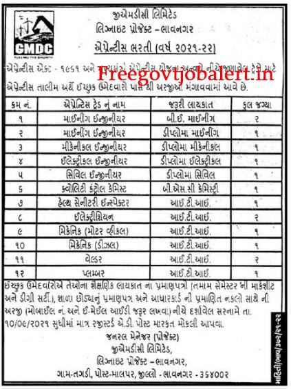 GMDC Bhavnagar Apprentice Recruitment 2021 - 15 Plumber, Welder & Other Posts