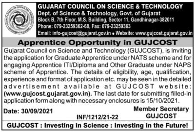GUJCOST Apprentice Recruitment 2021 - 50 COPA & Other