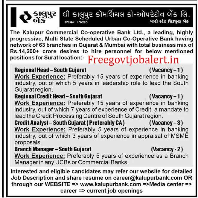 Kalupur Bank Recruitment 2021 - BM & Other Posts