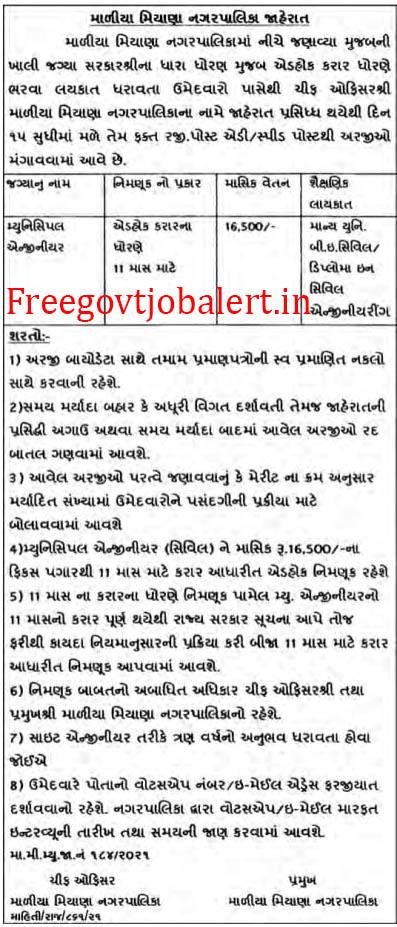 Maliya Miyana Nagarpalika Recruitment 2021 - Municipal Engineer Vacancy