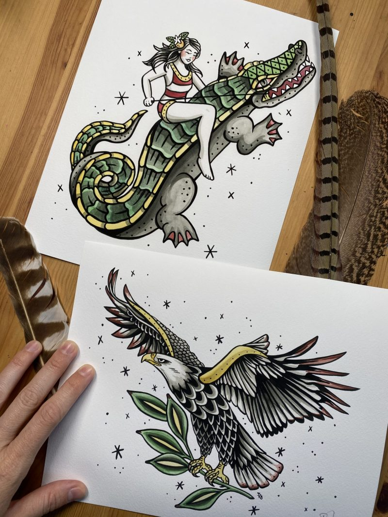 Gator Rider Eagle Art Prints
