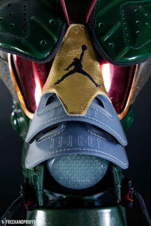Like the sole and tongue of the Champagne VIs, the custom hand cast nose piece also glows in the dark.