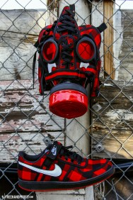 The 22nd sneaker mask created by Freehand Profit. Made from 1 pairs of Nike Vandal Lows. Find out more about the work on FREEHANDPROFIT.com.