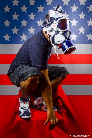 """The 25th sneaker mask created by Freehand Profit. Made from 1 pair of 2012 Air Jordan Retros """"Olympic"""" VI (6). Find out more about the work on FREEHANDPROFIT.com."""