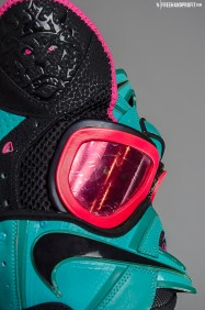 "The 28th sneaker mask created by Freehand Profit. Made from 1 pair of Nike LeBron 8 ""South Beach"". Find out more about the work on FREEHANDPROFIT.com."