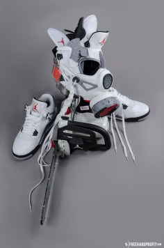 The 31st sneaker mask created by Freehand Profit. Made from 1 pair of Air Jordan White Cement IVs (4). Featured on the cover of Freehand Profit's first art book: Army of the Undeadstock. Find out more about the work on FREEHANDPROFIT.com.