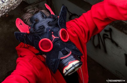 """The 47th sneaker mask created by Freehand Profit. Made from 1 pair of Retro Jordan VI (6s) """"Black Infrared from the 2010 Infrared Pack. Find out more about the work on FREEHANDPROFIT.com."""