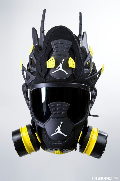 "The 53rd sneaker mask created by Freehand Profit. Made from 1 pair of Air Jordan Retro ""Thunder"" IVs (4s). Find out more about the work on FREEHANDPROFIT.com."