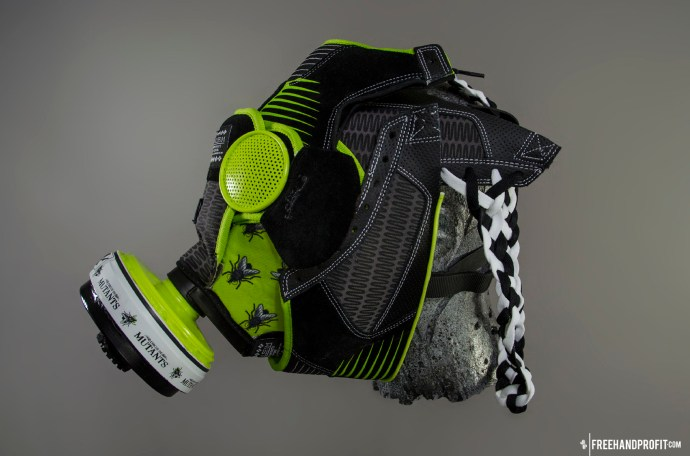 """The 60th sneaker mask created by Freehand Profit. Made from 1 pair of SBTG x DC Shoes Circus of Mutants - """"The Fly"""". Find out more about the work on FREEHANDPROFIT.com."""