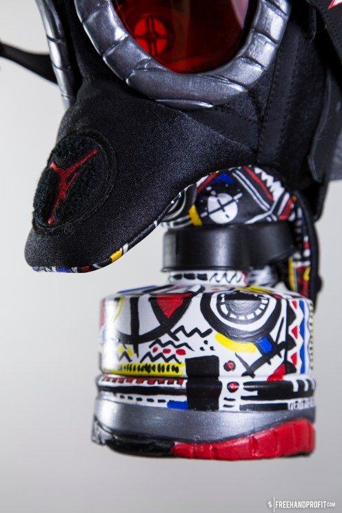 """The 80th sneaker mask created by Freehand Profit. Made from 1 pair of Air Jordan VIII (8) """"Playoff"""" Retros from 2013. Find out more about the work on FREEHANDPROFIT.com."""