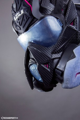 """The 89th sneaker mask created by Freehand Profit. Made from 2 pairs of Nike LeBron 11 """"Miami Nights"""". The 89th mask pays homage to Freehand Profit's tie to Miami street wear brand 8&9 (8and9.com). Modeled by @PEISOBG of @8and9 Find out more about the work on FREEHANDPROFIT.com."""