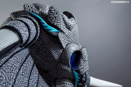 The 100th sneaker mask created by Freehand Profit. Made from 2 pairs of Jordan 3Lab5s. Find out more about the work on FREEHANDPROFIT.com.
