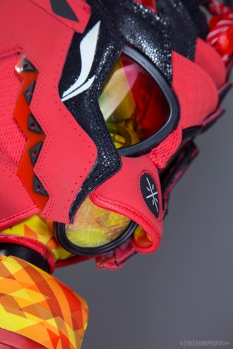 """The 105th sneaker mask created by Freehand Profit. Made from a single pair of """"Code Red"""" Way of Wade 3s by Li-Ning. Find out more about the work on FREEHANDPROFIT.com."""