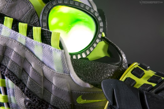 """The 101st sneaker mask created by Freehand Profit. Made from1 pair of Nike Air Max 95s in """"Animal OG Neon"""". Find out more about the work on FREEHANDPROFIT.com."""
