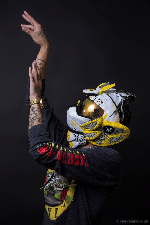 """The 120th sneaker mask created by Freehand Profit. Made from a single pair of """"Overtown"""" Way of Wade 4s. Find out more about the work on FREEHANDPROFIT.com."""