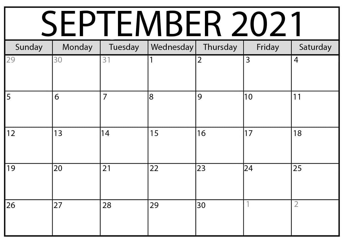 September 2021 Calendar with Holidays USA UK Canada with Printable Notes Format