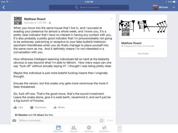 Facebook screenshot from Matt shared by Katie 6