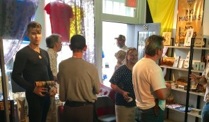 Anypay founder Steven Zeiler (left) talks with Darryl W Perry at the grand opening of Portsmouth's Free State Bitcoin Shoppe in September
