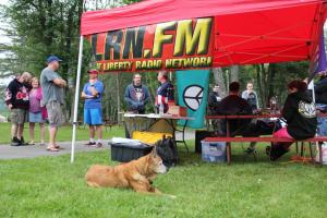 Liberty-oriented campers hanging out by the LRN.FM broadcast tent, Day One of Forkfest 2018