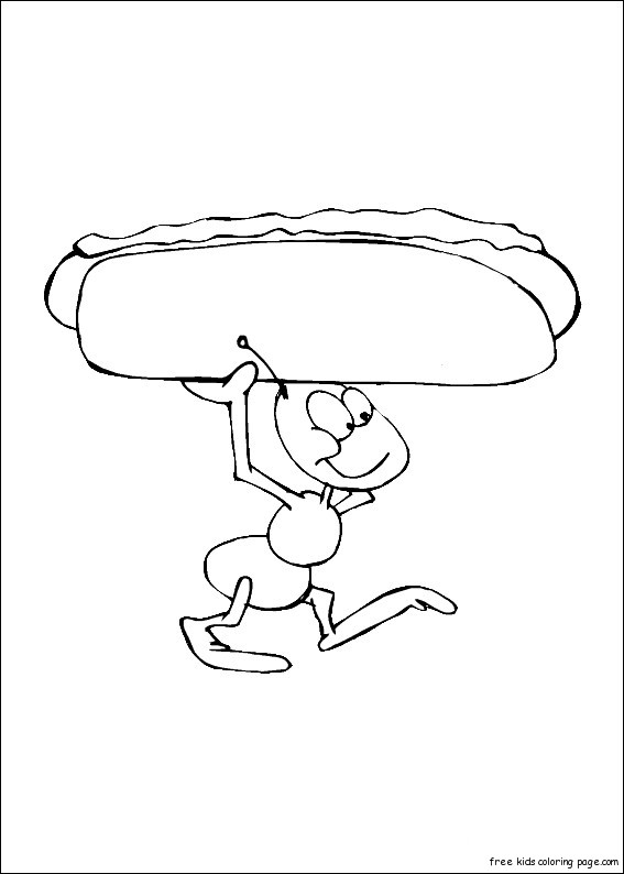 print out ants  hot dog coloring in sheet for kidsfree