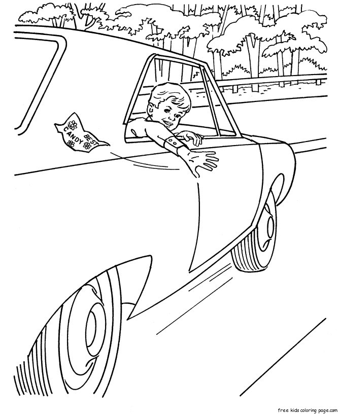 Print Out Boys Car Colouring Pages For KidsFree Printable