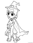 Print out halloween cute girls in witch costumes coloring pages