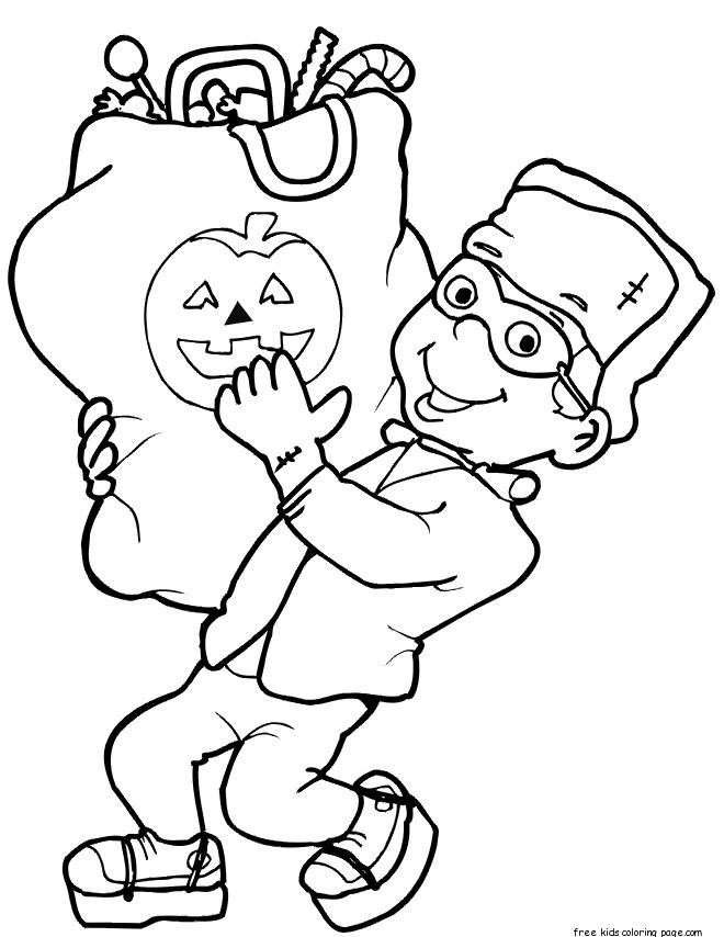 Halloween Boy With Candy Coloring Pages Free Printable