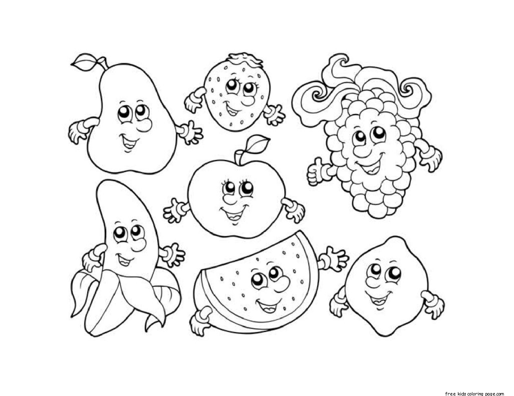 Apple Watermelon Strawberry Banana Gcoloring In Sheetsfree Printable Coloring Pages For Kids