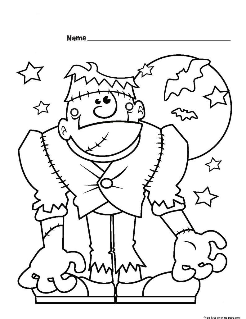 Halloween Frankenstein Monster Printabel Coloring Pages