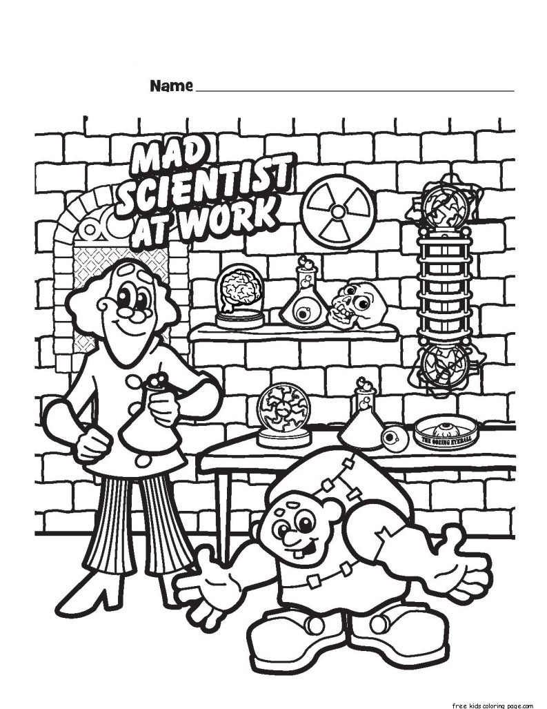 Halloween Mad Scientist Printable Coloring Pages For