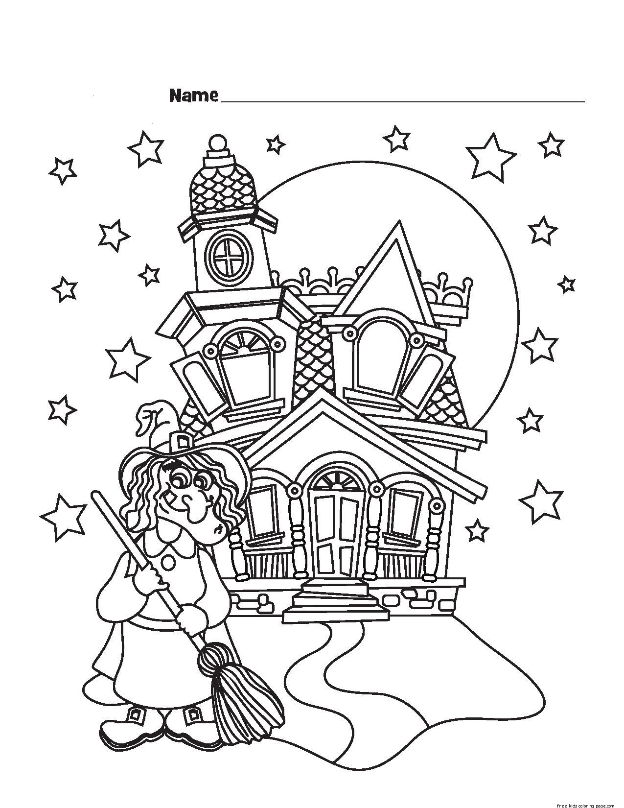 Printable Halloween Witch Castle Coloring Pagesfree