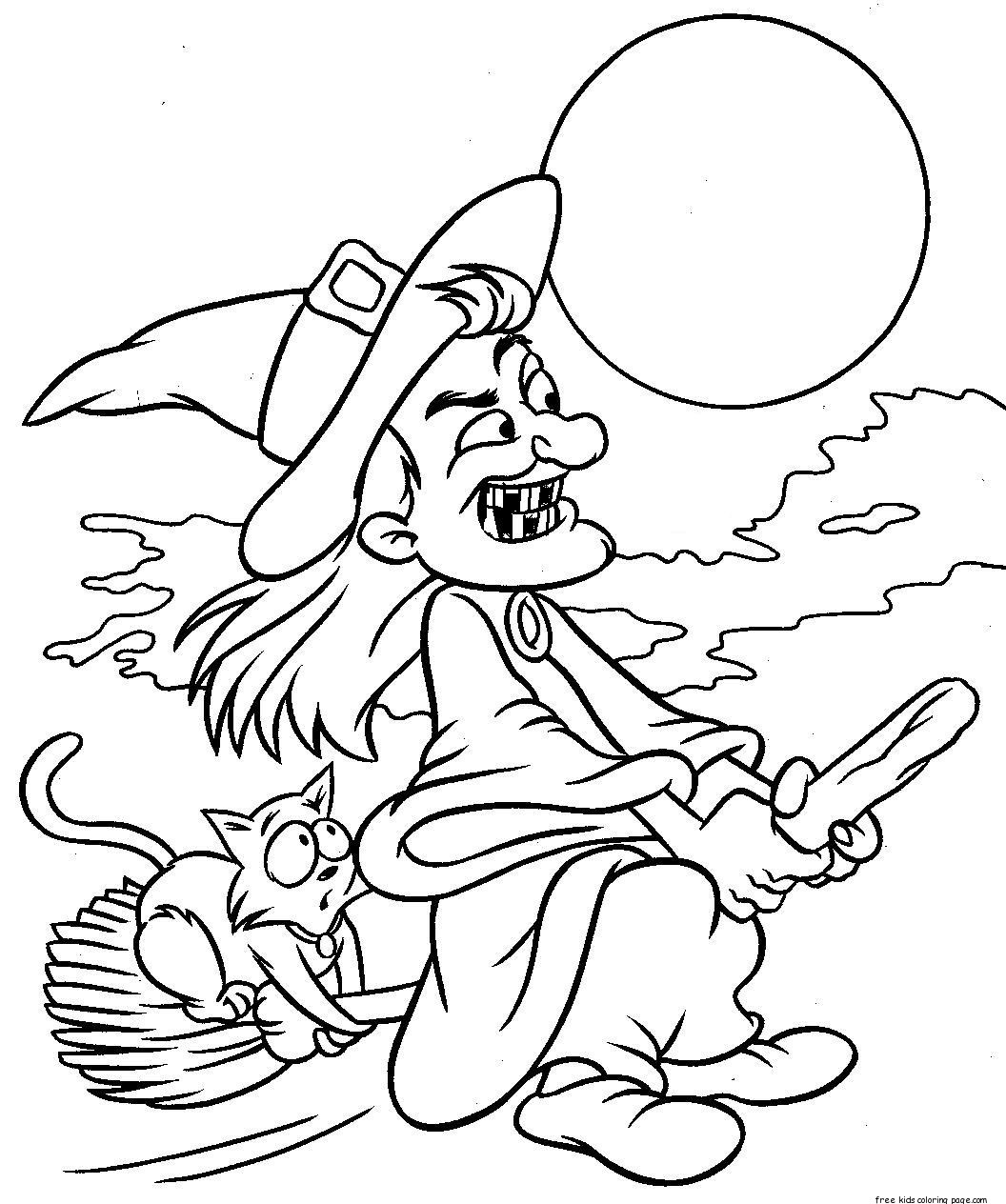 Printabel Witch Flying On Broom Coloring Page For Kidsfree
