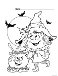 Halloween witch coloring page for kids. Pages to color halloween to print out for kids.