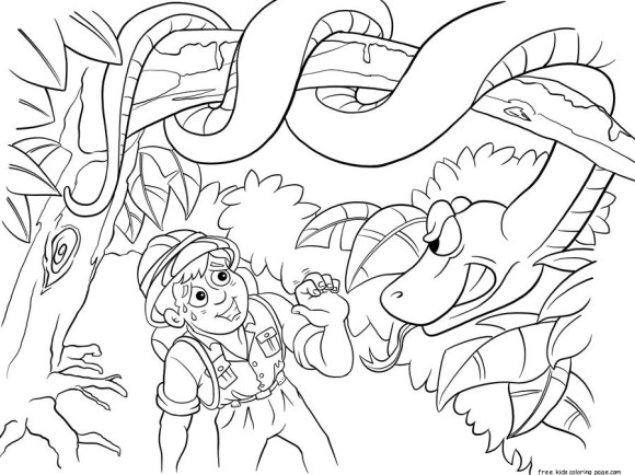 Printable Jungle Snake and boy coloring pages for kidsFree ...
