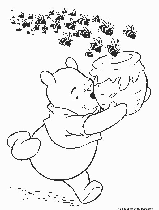 Winnie The Pooh Honey Bees Cereal Coloring Page For