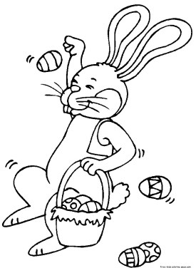 Coloring book easter bunny eggs to print out