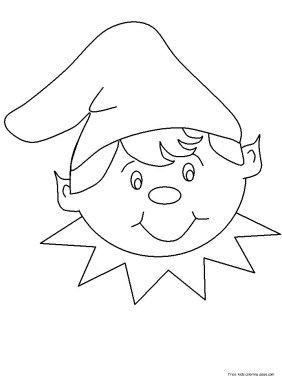 christmas elf face cut out coloring pages