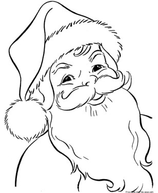 Santa claus face picture to color for