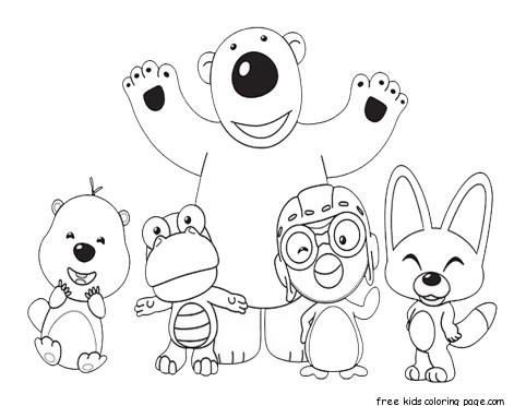 Printable Pororo The Little Penguin And Friends Coloring