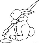 cute easter bunny brushes coloring pages printable