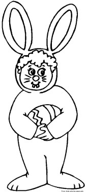 child easter bunny costume coloring pages for kids to print out