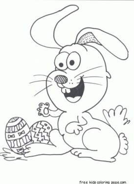 Easter eggs and happy bunny coloring page for kids to print out