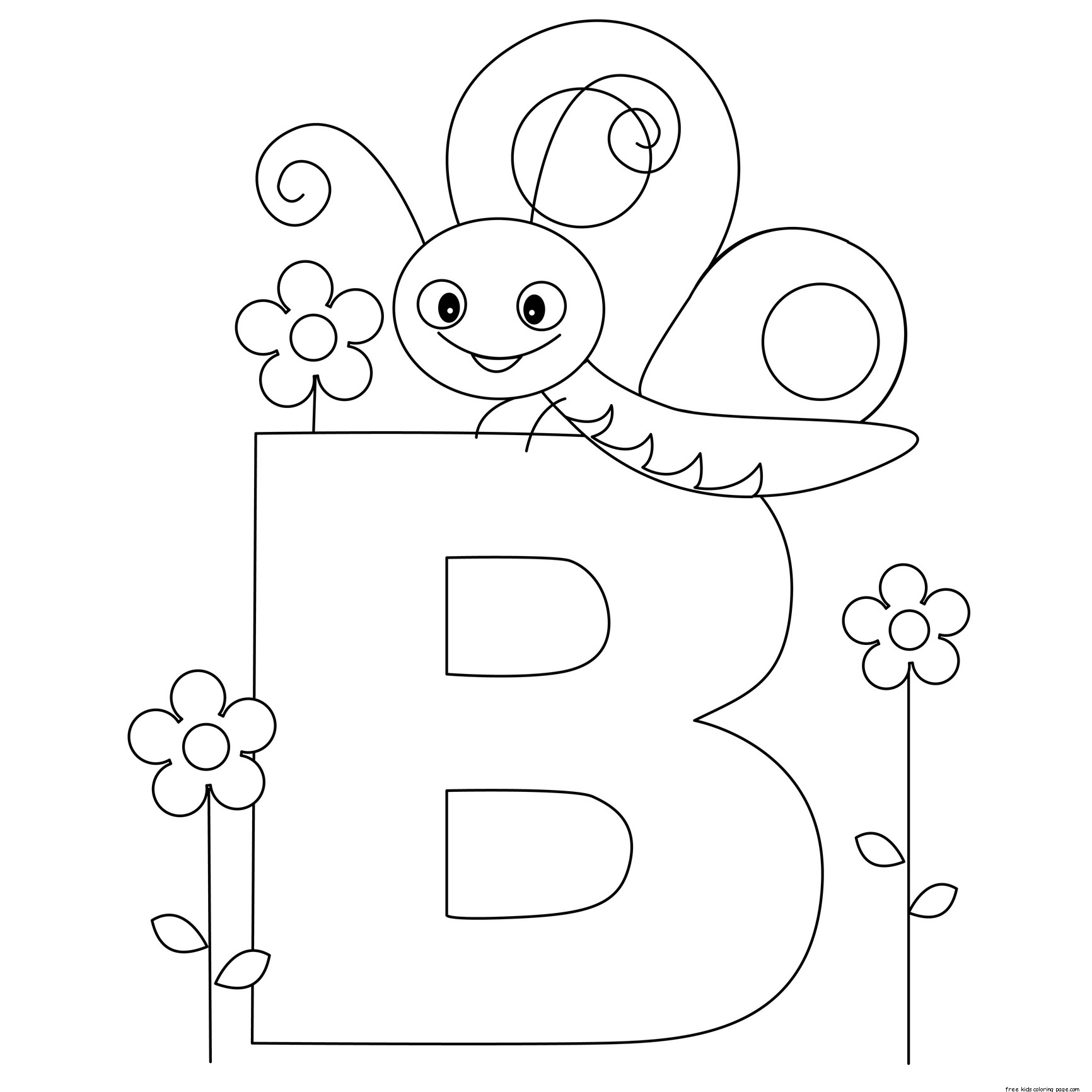Printable Animal Alphabet Letter B Butterflyfree Printable Coloring Pages For Kids