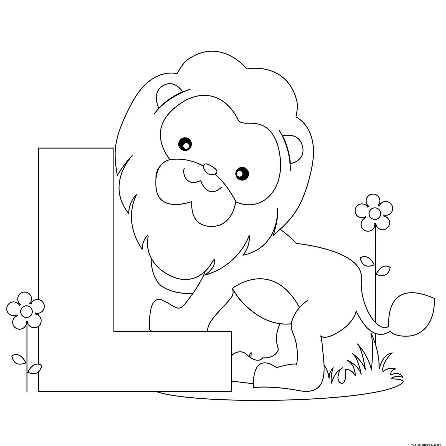 Printable Animal Alphabet Letter L Is For Lion