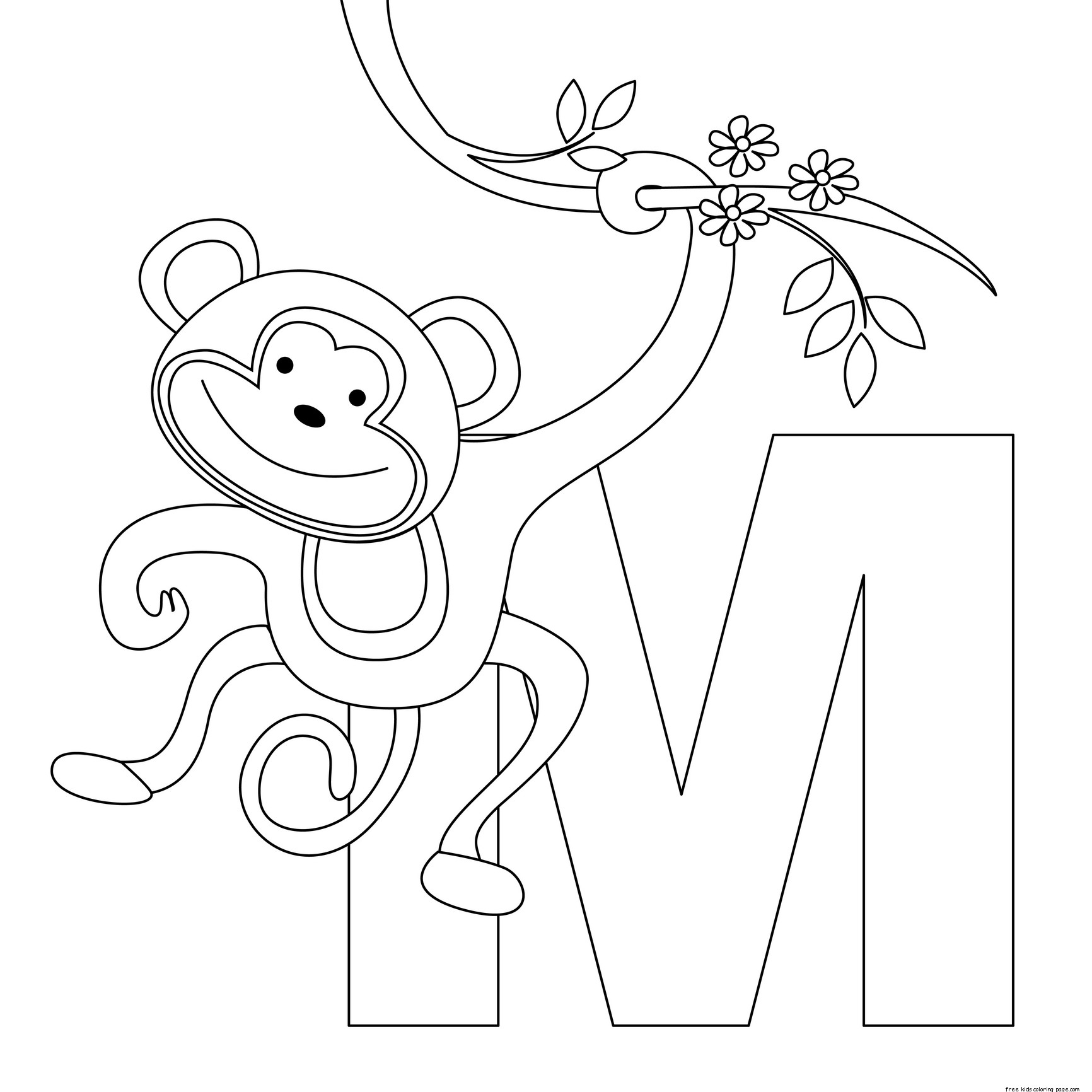 Printable Animal Alphabet Letters M Coloring Pagesfree