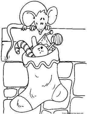 christmas stockings Presents for Mouse coloring pages